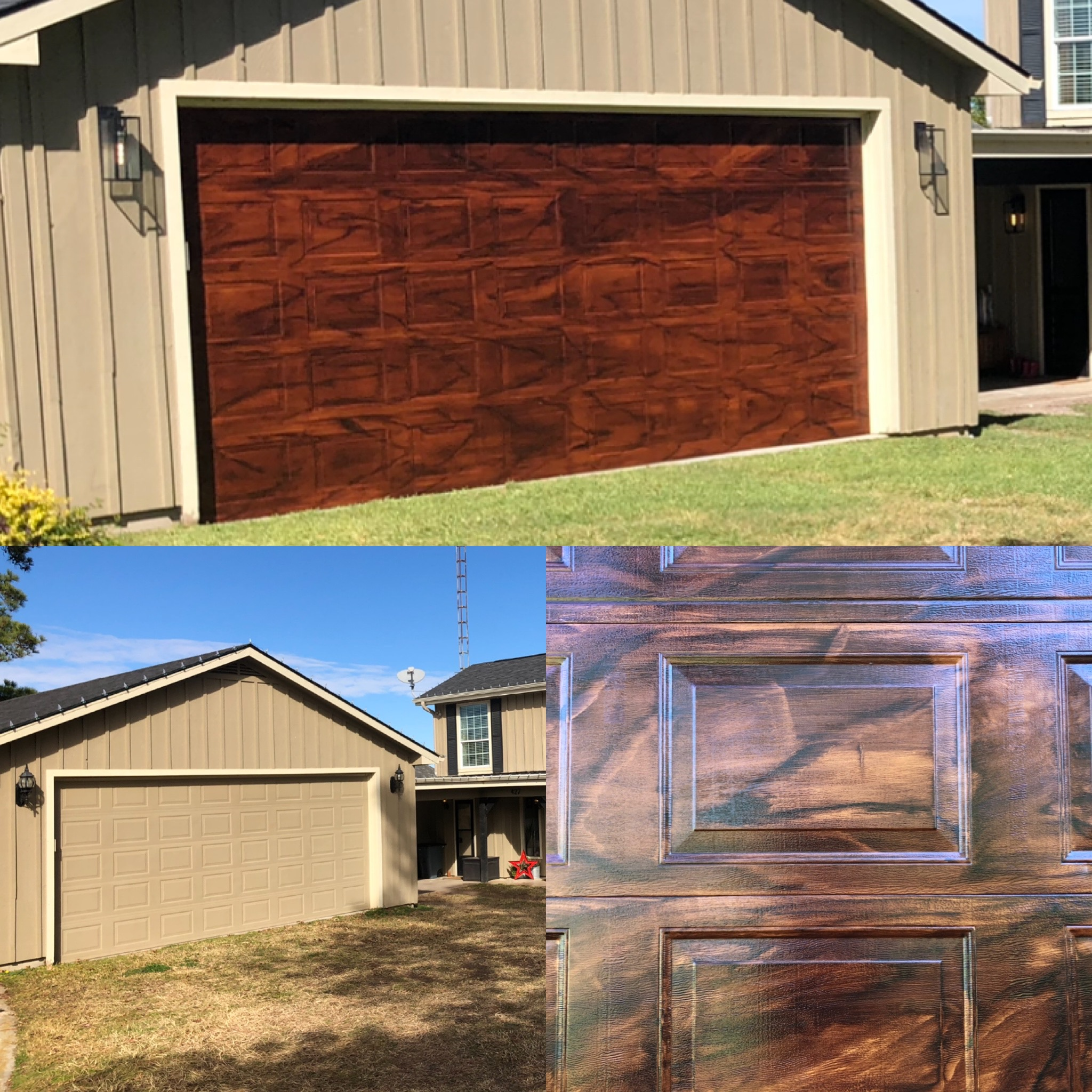Faux Wood Garage Door before, after, and up close